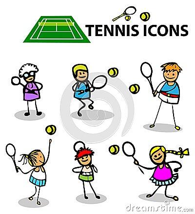 Tenisowe ikony bawją się emblematy, wektorowa ilustracja