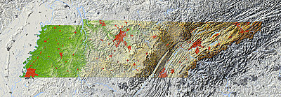Tennessee, relief map