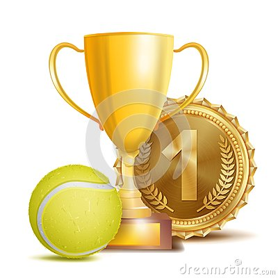 Free Tennis Award Vector. Sport Banner Background. Yellow Ball, Gold Winner Trophy Cup, Golden 1st Place Medal. 3D Realistic Stock Photo - 104782990
