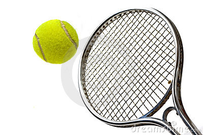 Tennis bal and racket
