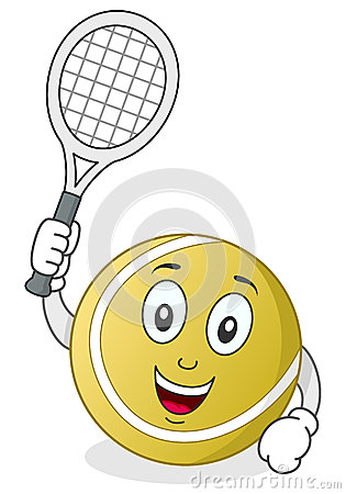 Tennis Ball Character with Racket