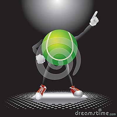 Tennis ball character under the spotlight