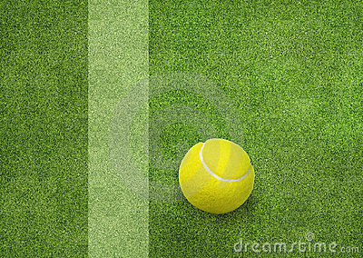 Tennis ball beside the court line