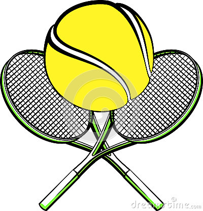 Tennis ball with crossed rackets
