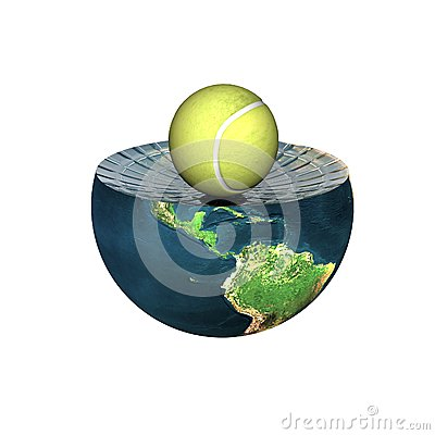Tennis ball on earth hemisphere