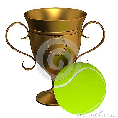 Tennis ball and the gold cup