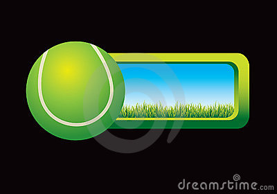 Tennis ball graphic with window to outside