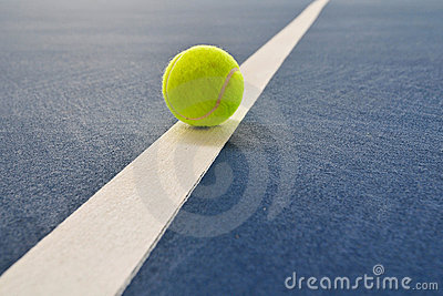 Tennis ball just on the line