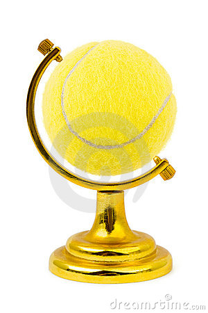 Tennis ball like a globe