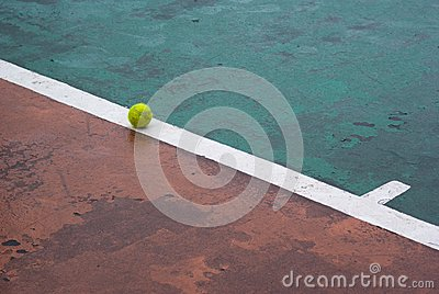 Tennis ball on a line