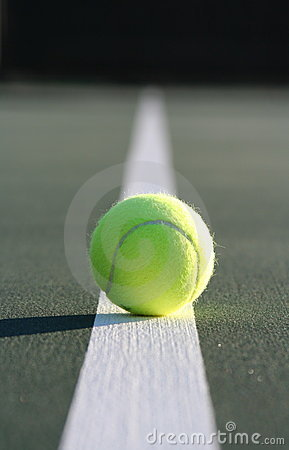 Free Tennis Ball On The Court Line Stock Images - 1739474