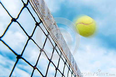 Tennis ball over the net