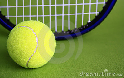 Tennis ball and racke