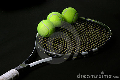 Tennis ball in the racket