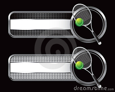 Tennis ball and racket on checked tabs