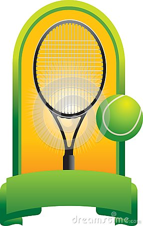 Tennis ball and racket in green display