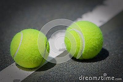Tennis Balls on Har-Tru clay tennis court