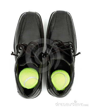 Free Tennis Balls In Shoes Stock Photography - 19010322