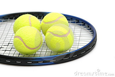 Tennis balls on the racket