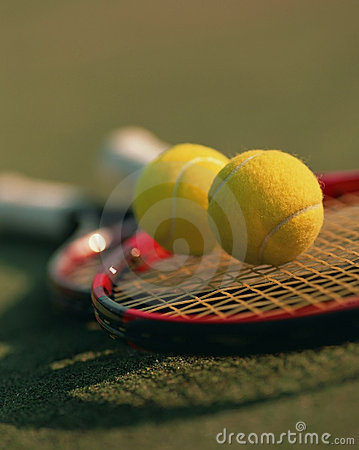 Tennis balls and rackets