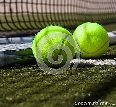 Tennis balls and racquet