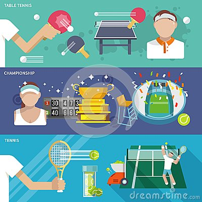 Free Tennis Banner Set Stock Images - 47726964