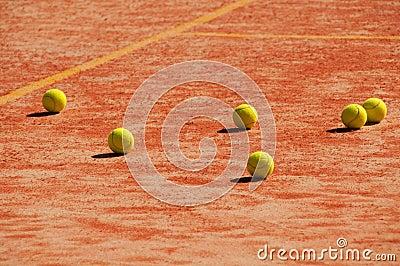 Tennis court with balls