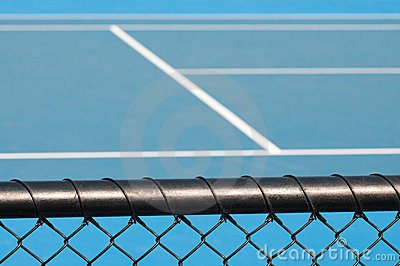 Tennis court and chain link fence