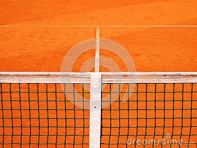 Tennis court with line and net