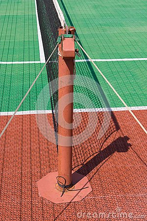Tennis court with a net