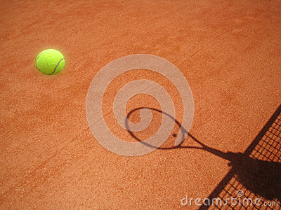 Tennis court net and racket shadow with ball (30)