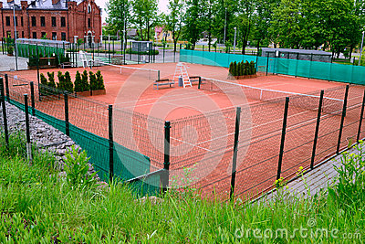 Tennis courts in city