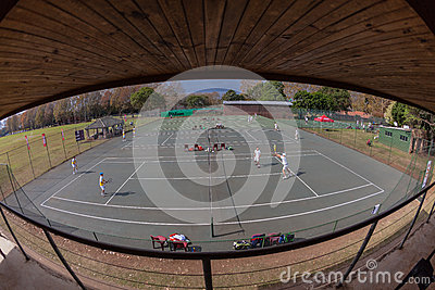 Tennis Courts Spectator Stand  Editorial Stock Photo
