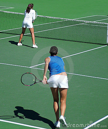 Free Tennis Doubles Serve & Volley Stock Photos - 2381843