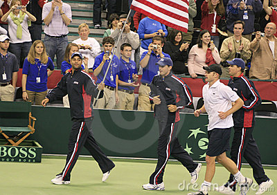 Tennis för koppdavis lag oss Redaktionell Arkivbild
