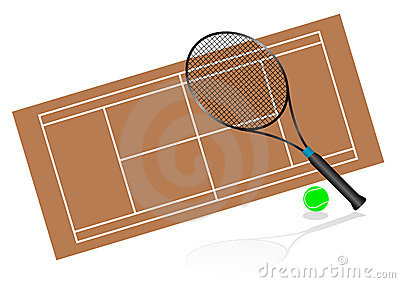 Tennis illustration with rackets and terrain