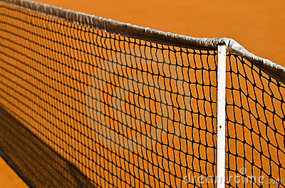 Tennis net and clay