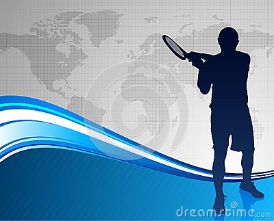 Tennis Player on Abstract Blue Background