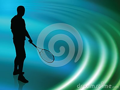 Tennis Player on Abstract Liquid Wave Background