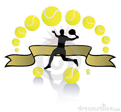 Tennis player and balls.