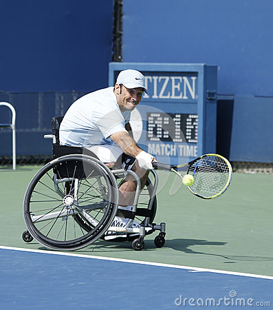 Tennis player David Wagner from USA during his US Open 2013 wheelchair quad singles match Editorial Photography