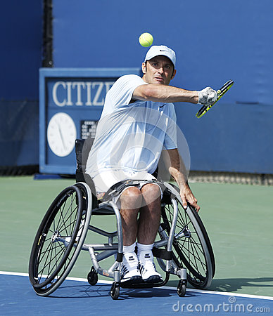 Tennis player David Wagner from USA during his US Open 2013 wheelchair quad singles match Editorial Stock Image