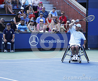 Tennis player David Wagner from USA during his US Open 2013 wheelchair quad singles match Editorial Image