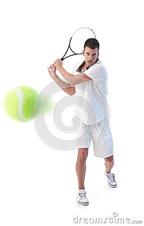 Tennis player doing backhand stroke