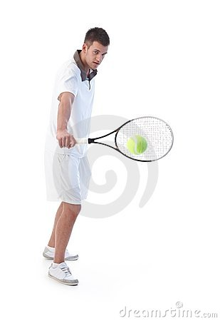 Tennis player doing backhand stroke