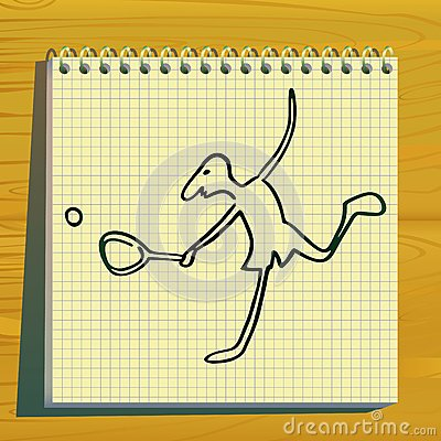 Tennis player doodle silhouette.