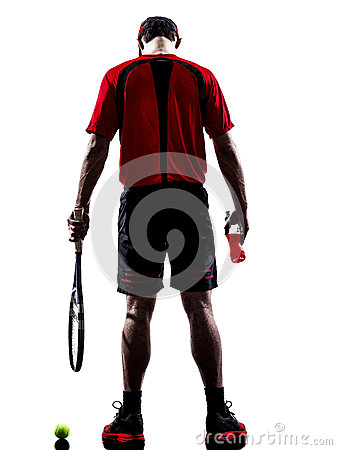 Tennis player drinking energy drinks silhouette