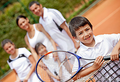 Tennis player and family