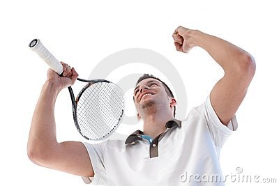 Tennis player happy for scoring