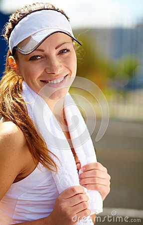 Tennis player having a rest after tenis